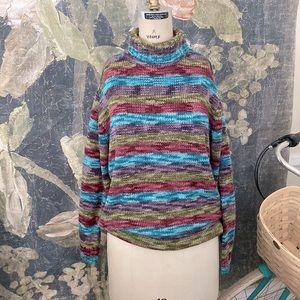 Vintage cozy turtleneck chenille striped sweater
